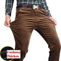 Nuevo otoño invierno de los hombres pantalones casuales pantalones de pana gruesa caliente de alta calidad pantalones rectos flojos pantalones de los hombres de negocios más tamaño 44