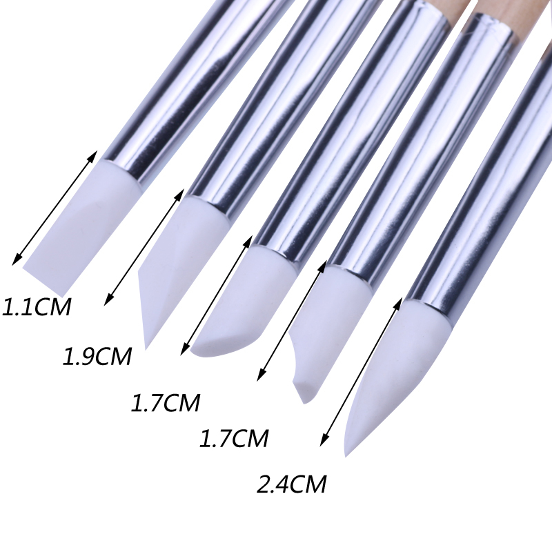 Nail Tools Hearty 5pcs Nail Art Silicone Pen Brush Wooden Dotting Carving Embossing Shaping Hollow Pottery Sculpture Builder Clay Tools Manicure