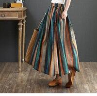 Colorful stripes long skirt personality folk retro style Elastic waist A Line skirt women 2019 summer