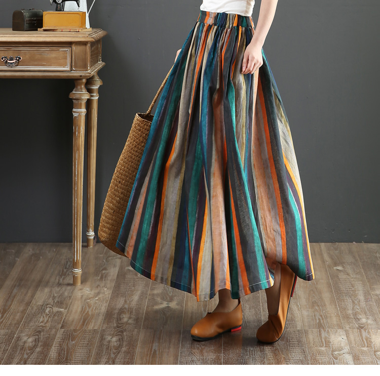 Colorful Stripes Long Skirt Personality Folk Retro Style Elastic Waist A-Line Skirt Women 2019 Summer