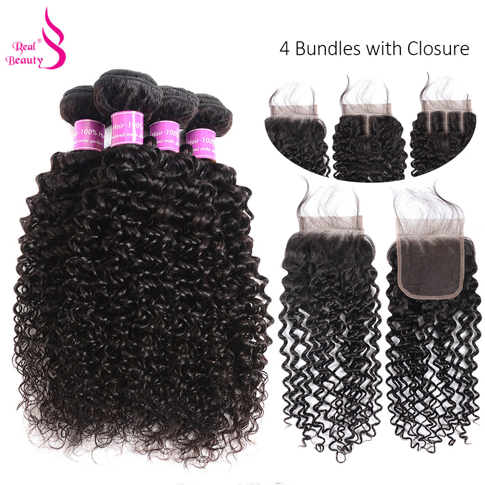 Real Beauty Malaysian Kinky Curly Hair Weave 100% Human Hair Bundles With Closure Black Color Remy Hair 3/4 Bundles With Closure ...