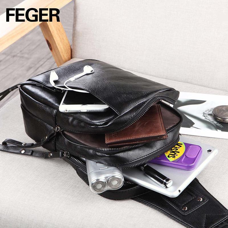 цена на FEGER fashion mens mini PU sling bag travel sling pack casual chest bag big volume MALE BAG Small famous Brand Shoulder Bag