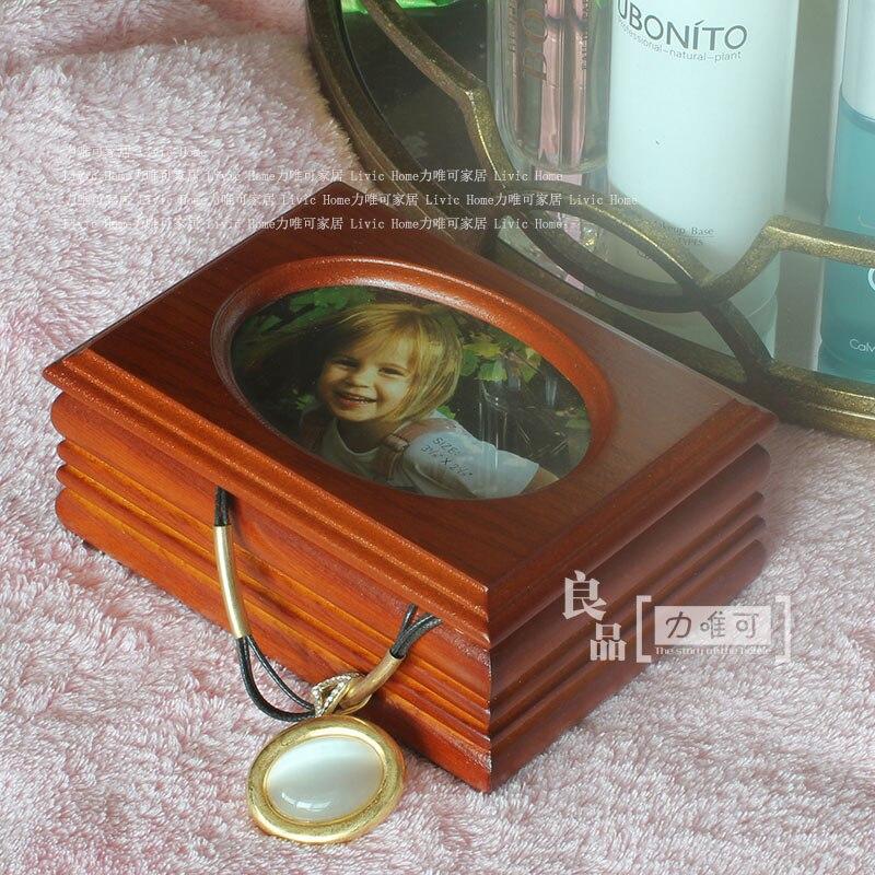 Boîtes à bijoux en bois de qualité cadeaux boîte à bagues ovale cadre boîte à bijoux cadeau d'anniversaire de mariage