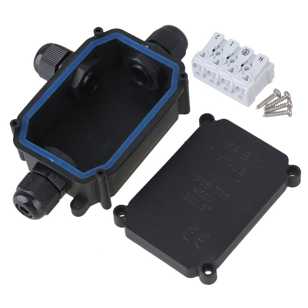 Waterproof Black IP66 Plastic Cable Wire Connector Gland Electrical 3-Cable Junction Box with P02-4 Terminal