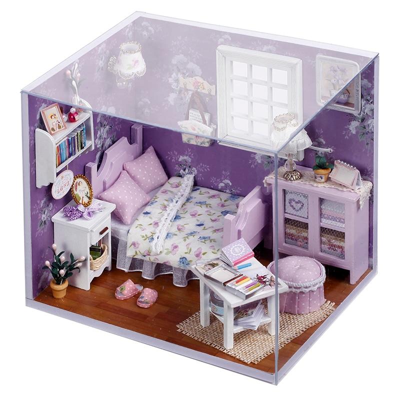 Cutebee DIY House Miniature With Furniture LED Music Dust Cover Model Building Blocks Toys For Children Casa De Boneca H01