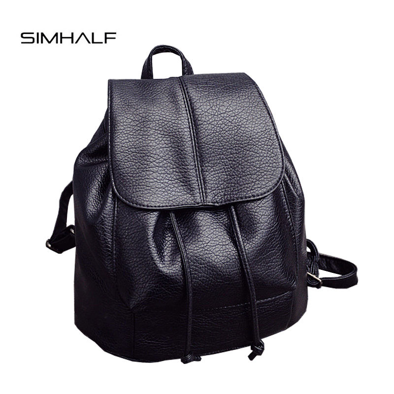 SIMHALF Fashion Women Backpack School Bags For Teenagers Girls Preppy Style PU Leather Bag Zipper Backpack Female Mochila 2017 nawo fashion genuine leather backpack rivet women bags preppy style backpack girls school bags zipper large women s backpack sac