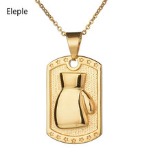 Eleple Stainless Steel Boxing Glove Necklaces for Men Relief Fist Back Engraving Sports Mens Necklace Jewelry Wholesale S-N102