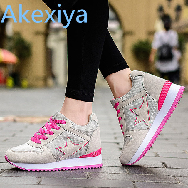 cb571e058f5 Akexiya Platform Casual Tenis Feminino High Heel Cheap Women Wedge  Valentine Shoe Basket Femme 2016 Female Krasovki Girl Gumshoe