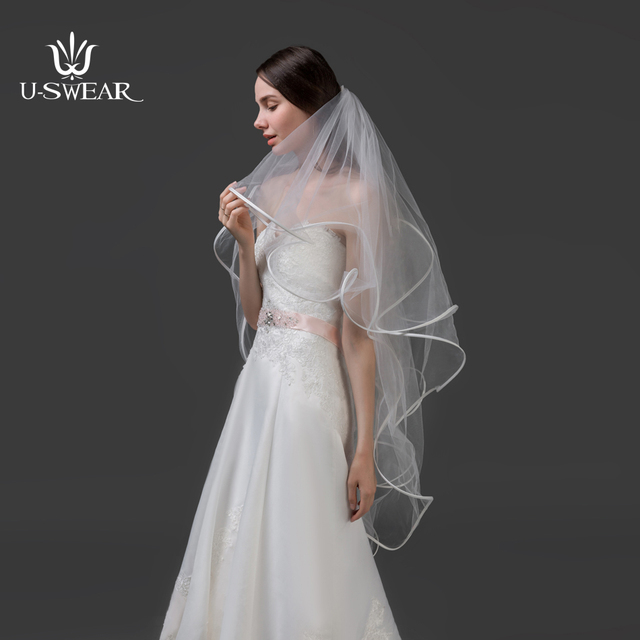 TSD1707109cut Edge Four Layer Wedding Veils Long Veu De Noiva Bride Lace Cost