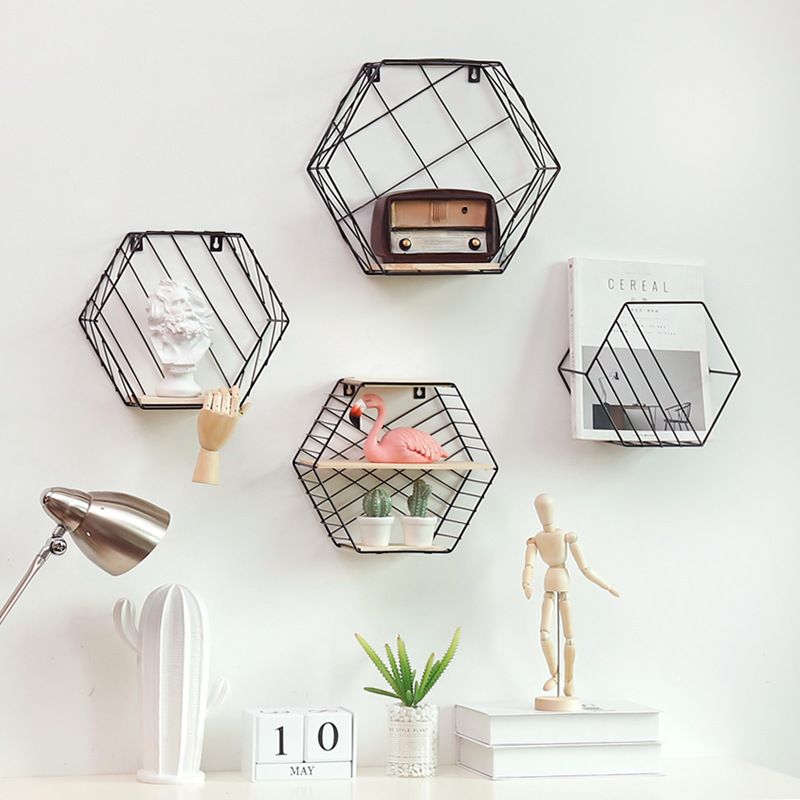 Hot Sale Wrought Iron Hexagon Grid Wall Shelf Combination Wall