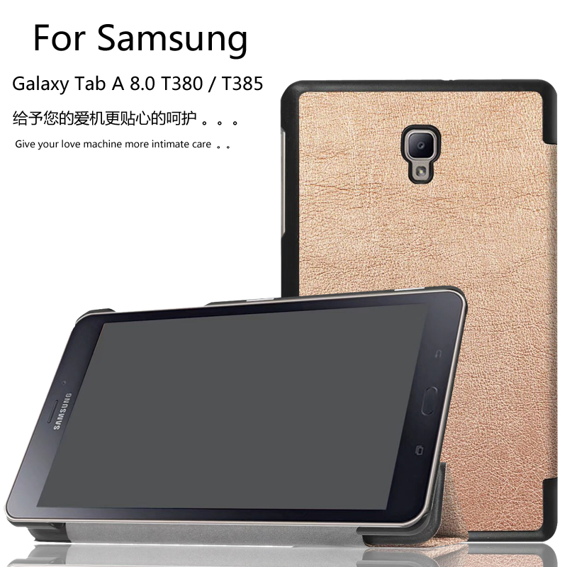 New 2017 Magnet slim stand smart PU leather cover case for Samsung Galaxy Tab A 8.0 T380 T385 tablet + Film + Pen