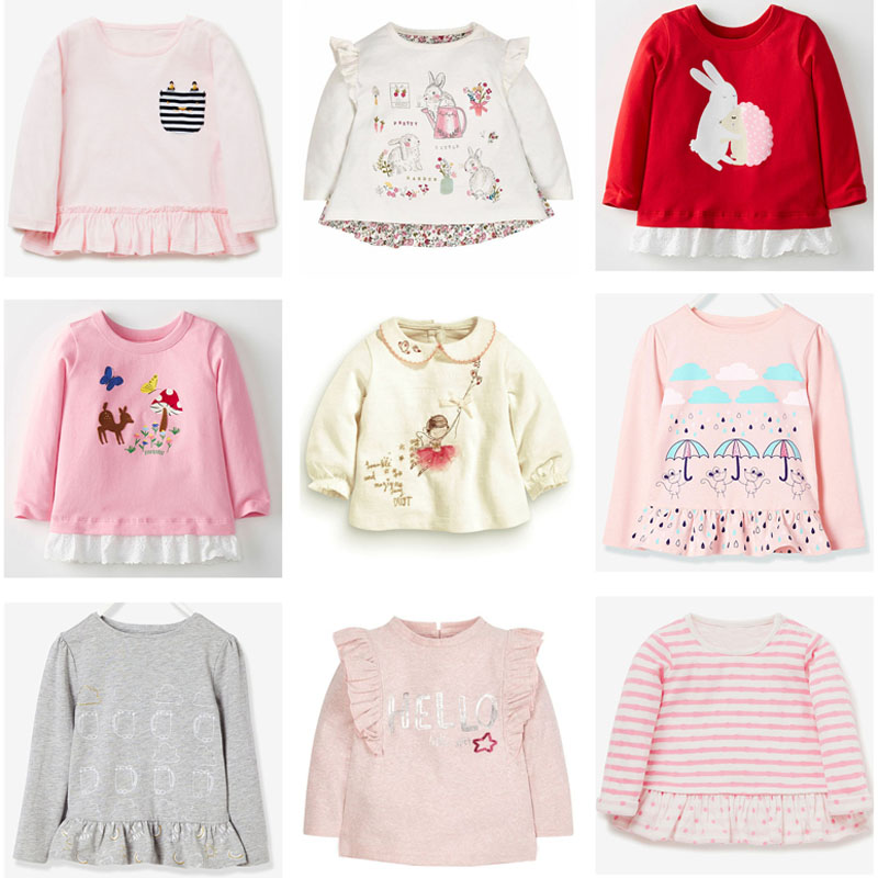 New 2018 Baby Girls t shirt Brand Quality 100% Cotton Baby Girl Clothes Kids t-shirt Long Sleeve Children Clothing Underwear Tee цена