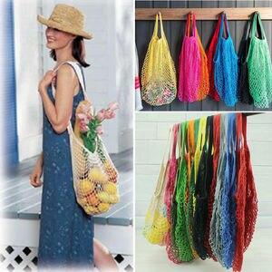 Offres spéciales sac d'épicerie réutilisable | Sac d'épicerie en ficelle pour Shopping, fourre-tout de Shopping en filet de maille, sacs à couches en coton tissé, sacs de Shopping tricotés en résille