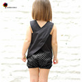 New Children Clothing Summer Girls Fashion Cute Cross Design on Back  Cotton Girls Vest Children Blouses