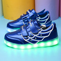 New Spring USB Children Shoes With Light For Boys Girls Chaussure Led Lumineuse Enfant Garcon Kids Light Up High Top Sneakers