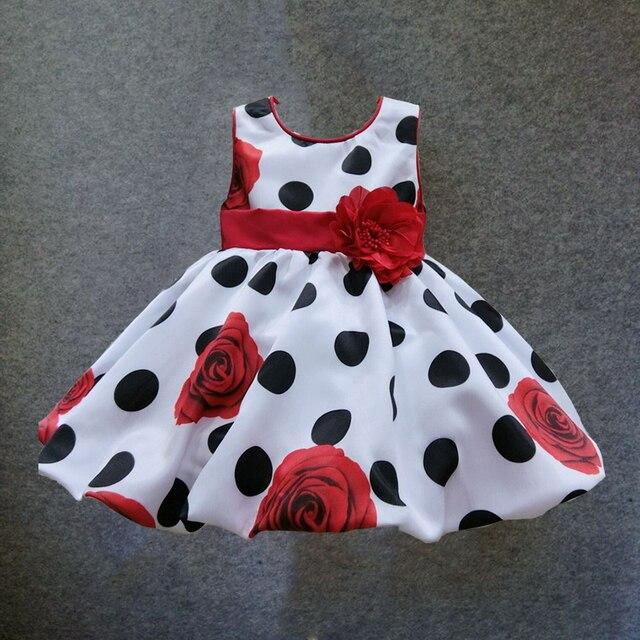 Платье для маленьких девочек, летнее платье в черный горошек с красным бантом для младенцев, вечерние платья принцессы без рукавов с цветочным рисунком