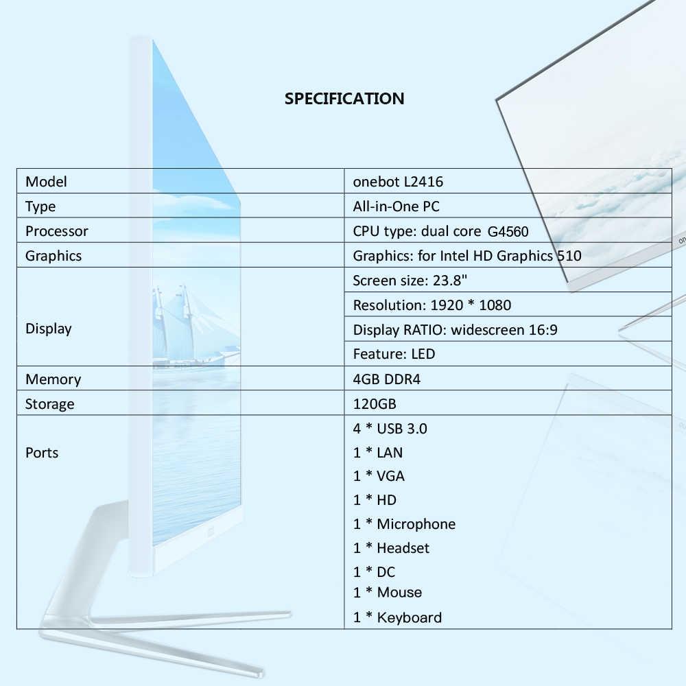 "Onebot L2416 23.8 ""الكل في واحد الكمبيوتر المكتبي ثنائي النواة G4400 120 جرام SSD 4 جرام DDR4 1920*1080 جميع في واحد PC ل مكتب تجارية (سابقا)"