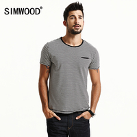 SIMWOOD 2017 Short Sleeve T Shirts Men Striped Fashion Tees Slim Fit Plus Size Breton Top