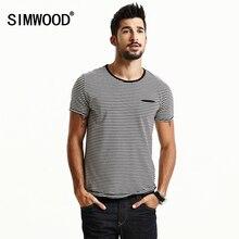 Simwood 2017 сезон: весна–лето короткий рукав футболки Для мужчин Модная полосатая Футболки для девочек Slim Fit плюс Размеры Breton Топ TD1167