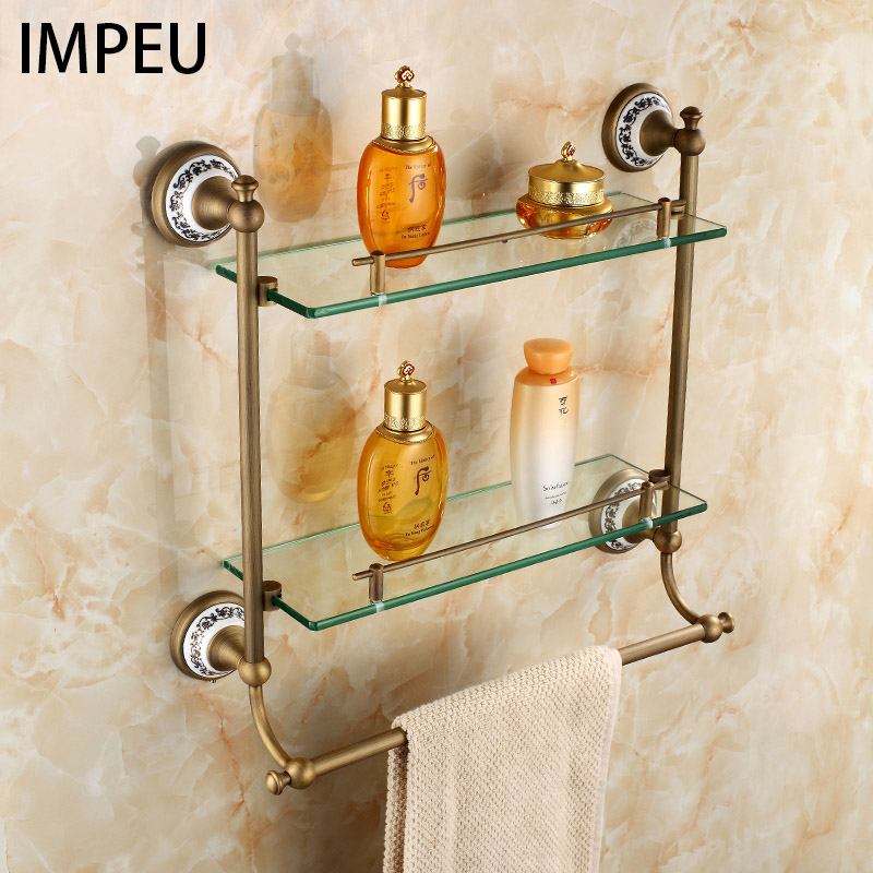 Bathroom Glass Shelf 2 Tier, Coming with Towel Bar, Shower Caddy Bath Basket, Wall Mount, Antique Brass, Bronze finish beelee modern wall mount solod brass shower basket and storage caddy soap wire basket shower holder oil rubbed bronze finish