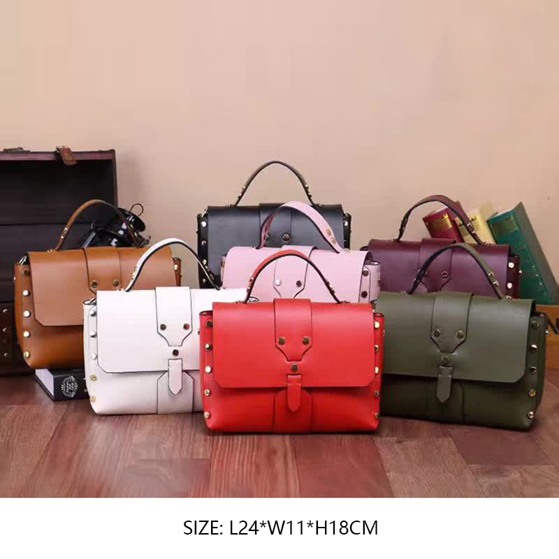 Korean Style Fashion Creative Rivet Genuine Leather Small Flap Solid Color Cover Hasp Cow Leather Shoulder Messenger Bag Handbag 2016 summer new handbag small korean handbag simple fashion lock bag simple style solid color hasp pu material zipper saffiano