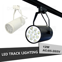 LED Track Light 12W White Black Energy Saving Rail Light Decorate Lamp Store Light Warm White