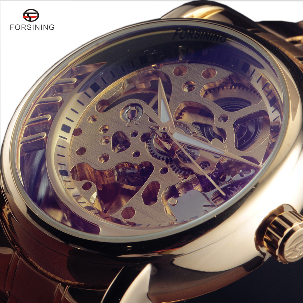 2017 FORSINING Top Luxury Men Mechanical Watches Automatic Skeleton Stainless Steel Gold Mens Wrist Watch Relogio Masculino forsining gold hollow automatic mechanical watches men luxury brand leather strap casual vintage skeleton watch clock relogio