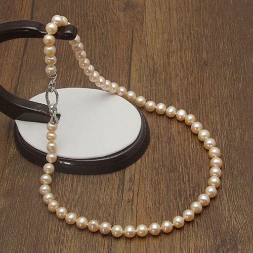Encanto de plata accesorio brilló> AAA 7-8mm Blanco Rosa Ronda Cultivadas de agua dulce Collar de Perlas