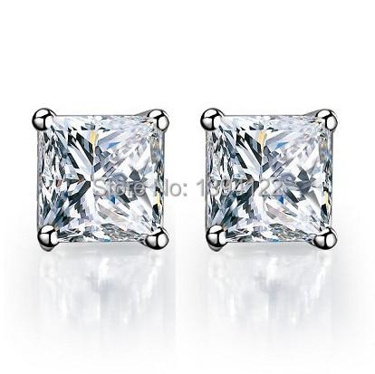 G Seting Princess Square Radiant Cut 0 5 1 2 Carat Sona Simulate Diamond Earrings