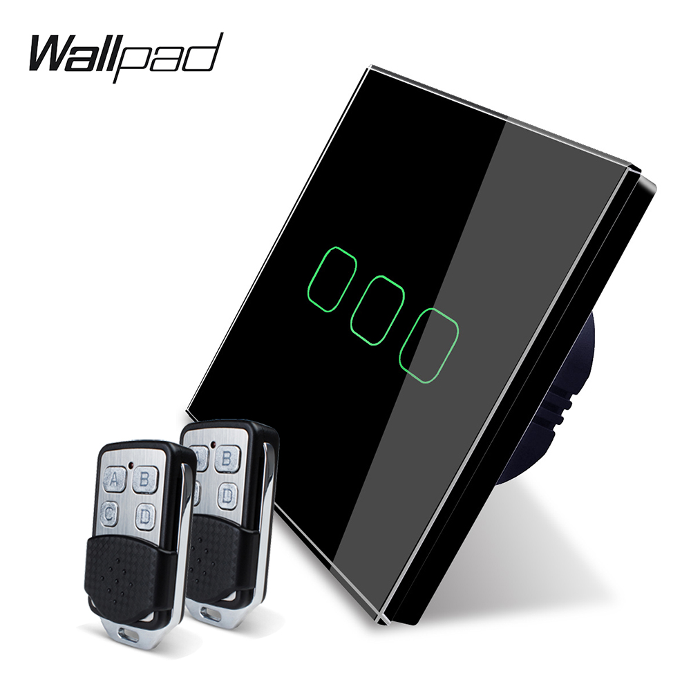 Image 2 - Wallpad K3 Capacitive Triple Dimmer Remote Touch Switch 3 Gang 4 Colors Tempered Glass Panel Wall Electrical Light Switch RF433-in Switches from Lights & Lighting
