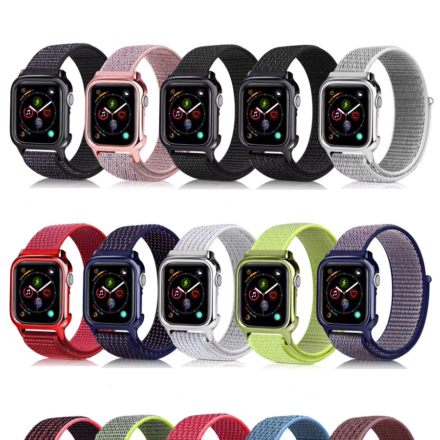 Nylon Loop Watch Band With Case For Apple Watch 42mm 44mm Integrated Sports Strap For iWatch 4 3 2 1 38mm 40mm Wrist BandNylon Loop Watch Band With Case For Apple Watch 42mm 44mm Integrated Sports Strap For iWatch 4 3 2 1 38mm 40mm Wrist Band