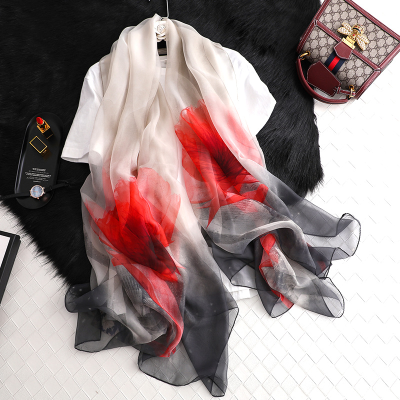 Fashion Women Flowers Printed   Scarf   Plaid Shawls Silk   Scarves     Wrap   Bandana Ladies Hijab Female Thin   Wraps   Bandana