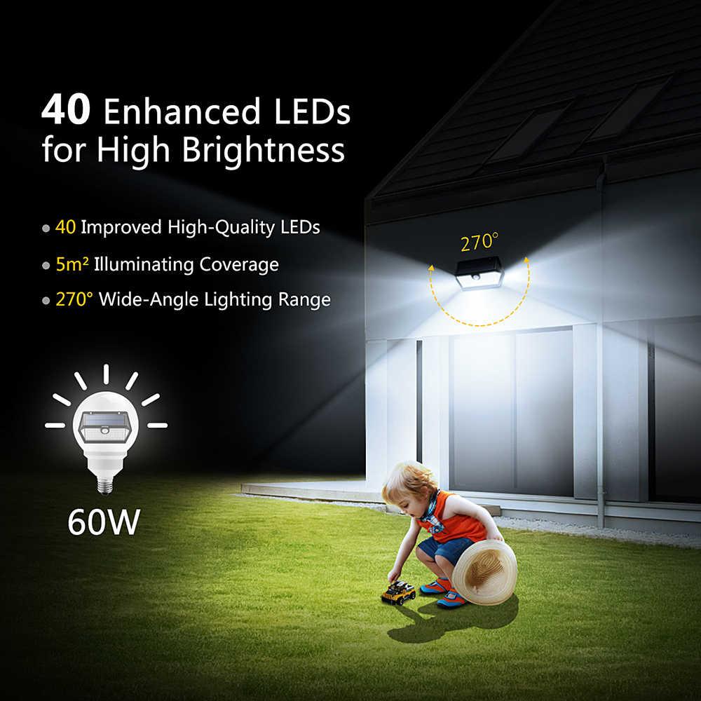 Mpow CD168 40 светодиодный солнечный свет сада Открытый IP65 Водонепроницаемый Яркость Регулируемый Солнечный светодиодный супер Широкий формат движения Senor лампы