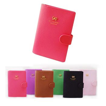 4 Colors Sweet Bowknot Crown Buckles Passport Holder Protect Cover Case Organizer Leather Passport Cover Passport & ID Holders