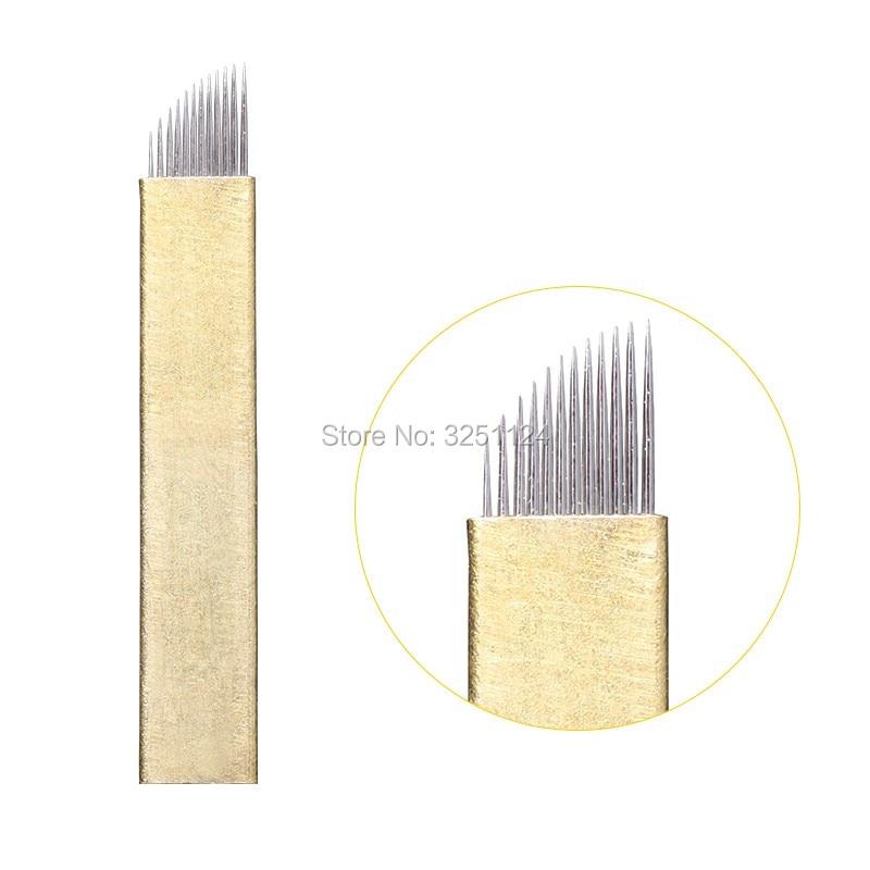 500PCS Lamina Tebori 12 pin PCD Needle 12 Microblading Manual Tattoo Bevel Blade Permanent Makeup Eyebrow
