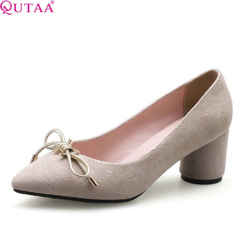 bd3a5be6941 QUTAA 2018 New Women Pumps Square High Heel Pointed Toe Women Shoes  Platform Bow Tie All Amtch Ladies Pumps Szie 34-43