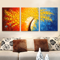 3 Pieces Panel Wall Art Palette Knife Hand Painted Yellow Flower Oil painting On Canvas Wall Pictures Painting For Living Room 3