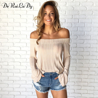 DeRuiLaDy 2017 Autumn Long Sleeve T Shirt Women Sexy Off Shoulder Backless Crop Top T Shirts