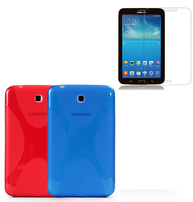 1x Screen Protector,X Line Soft Silicone Rubber TPU Gel Skin Shell Cover Case For Samsung Galaxy Tab 3 7.0 P3200 P3210 T210 T211 embossed tpu gel shell for ipod touch 5 6 girl in red dress