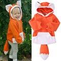 Unisex Del Niño Del Cabrito Fox Animal Cosplay de La Historieta Con Capucha Sweatershirt Abrigo prendas de Vestir Exteriores Ropa 0-4Y