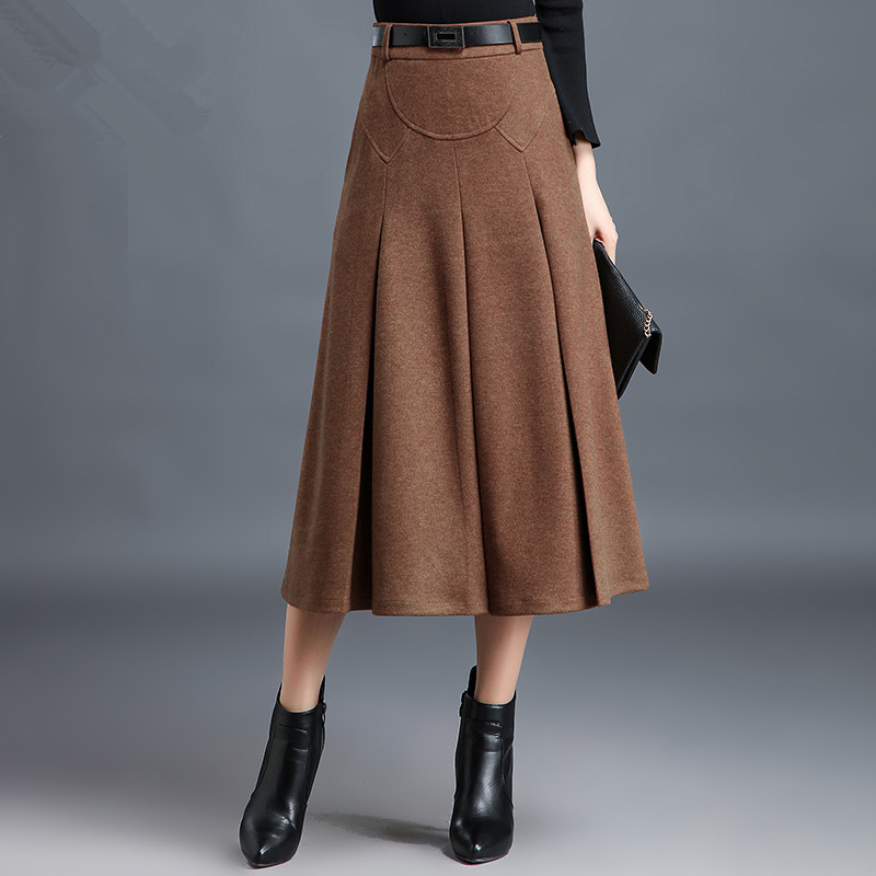 4 colors high quality ladies skirt thick woolen winter spring long maxi skirts for women high waist pleated skirt