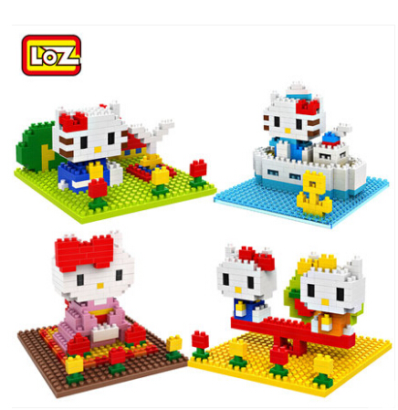 LOZ Diamond Blocks Kawaii Kitty Park DIY Building Toys Cute Hello Kitty Auction Figure Toys for Children Girls Gift 9405-9408 hot sale toys 45cm pelucia hello kitty dolls toys for children girl gift baby toys plush classic toys brinquedos valentine gifts