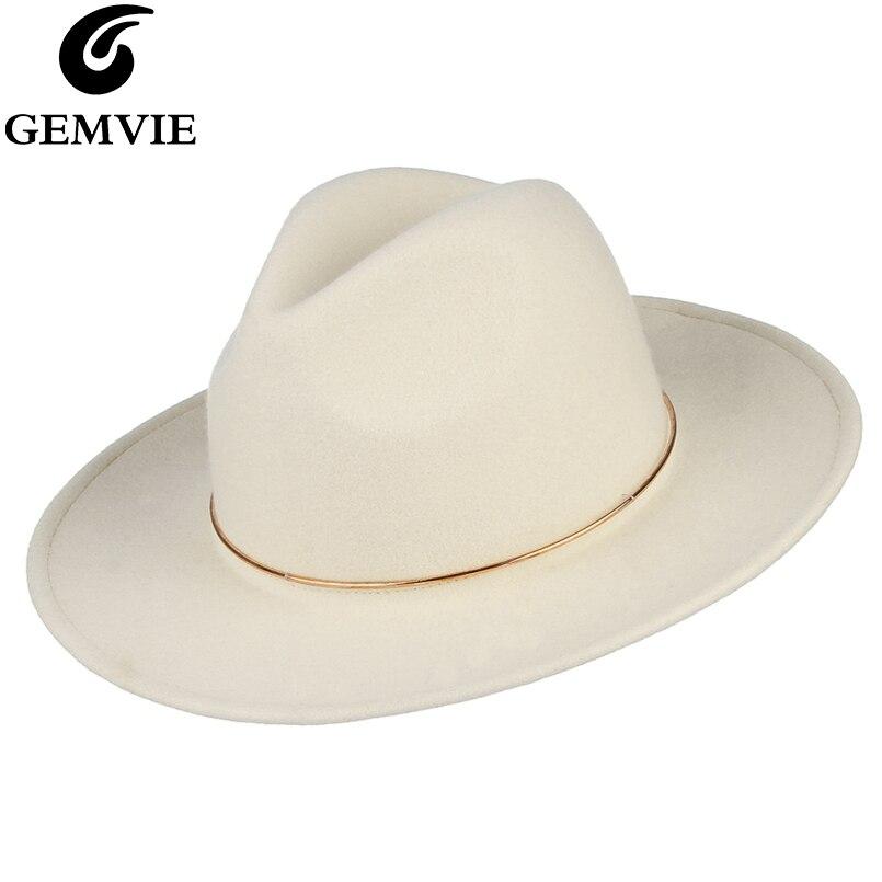 GEMVIE Brand 100 Wool White Felt Fedoras Hat For Women Metal Ring Jazz Cap Lady Wide
