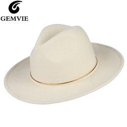 GEMVIE 100% шерсть шляпа Белая фетровая шляпа для женщин металлическое кольцо Леди широкие поля Новая мода осень зима Панама Джаз Кепка