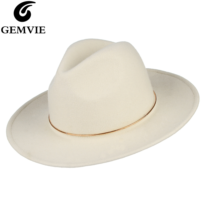 GEMVIE 100% Wool Hat White Felt Fedoras Hat For Women Metal Ring Lady Wide Brim New Fashion Autumn Winter Panama Jazz Cap