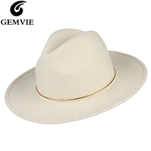 GEMVIE Brand 100% Wool White Felt Fedoras Hat For Women Metal Ring Jazz Cap Lady Wide Brim New Fashion Autumn Winter Panama Hat kenmont new arrival brand winter hat 100