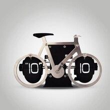 1 шт. новинка Нержавеющая сталь велосипед Модель Цифровой автоматический Флип настольные часы для дома и офиса декоративные креативные часы