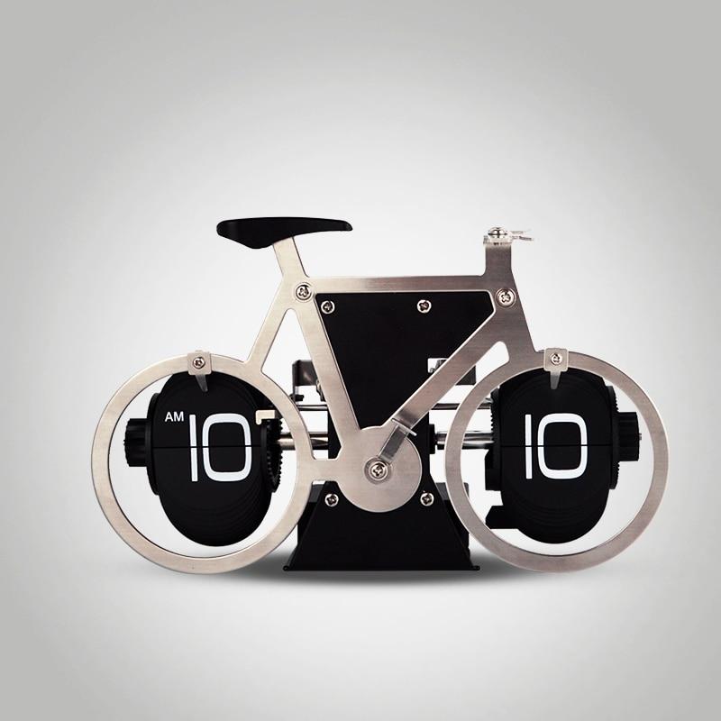 Ev ve Bahçe'ten Masa ve Sehpa Saatleri'de 1 adet 2016 Yeni Paslanmaz çelik bisiklet Model Dijital Otomatik Çevirme Masa Saati Ev ve Ofis Dekoratif Yaratıcı Saat'da  Grup 1