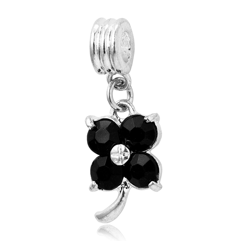 2016 New Four Leaf Clover Charms Silver Plating black Crystal Jewelry Dangle Beads fits European Charm Pandora Bracelets