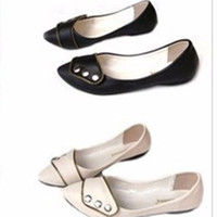 Lady European and American style Rivets Turning over Shallow Plus size (4-15)Pointed toe women Single Shopping Kvoll Flats Shoes